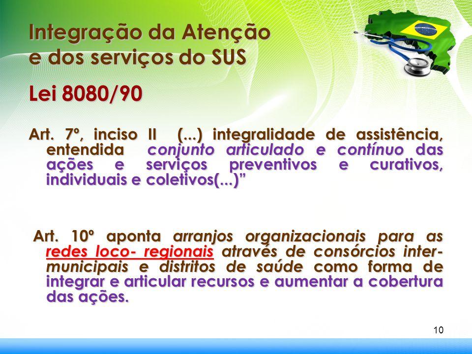 Integração da Atenção e dos serviços do SUS 10 Lei 8080/90 Art. 7º, inciso II (...) integralidade de assistência, entendida conjunto articulado e cont