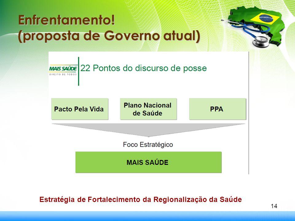 Enfrentamento! (proposta de Governo atual) 14 Estratégia de Fortalecimento da Regionalização da Saúde