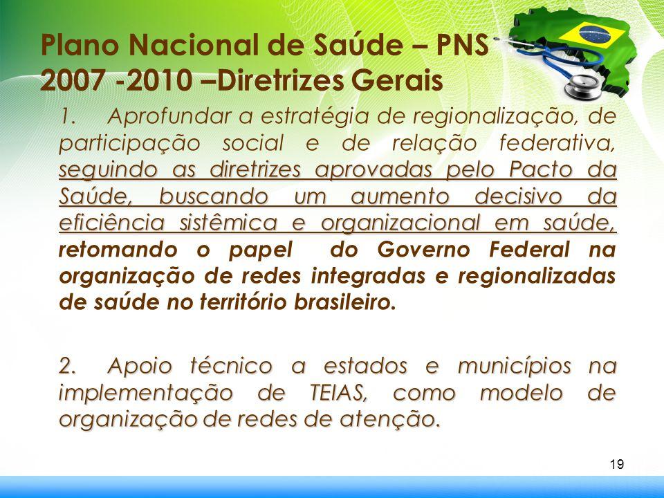 Plano Nacional de Saúde – PNS 2007 -2010 –Diretrizes Gerais seguindo as diretrizes aprovadas pelo Pacto da Saúde, buscando um aumento decisivo da efic