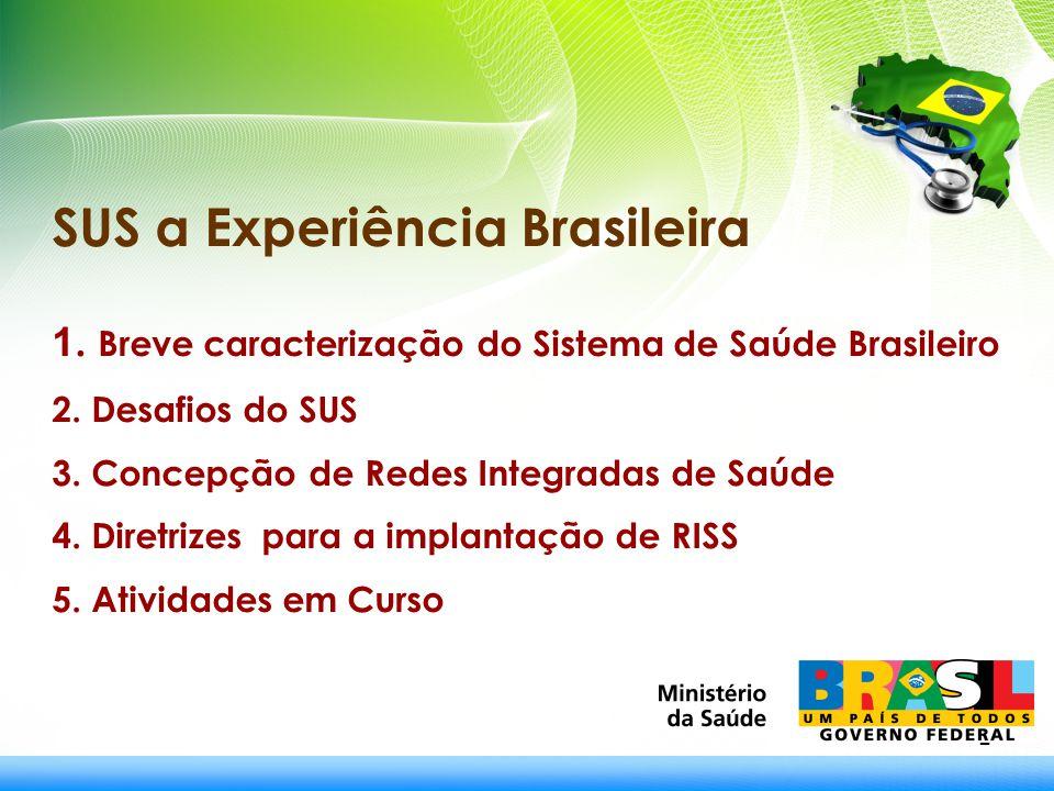 2 SUS a Experiência Brasileira 1. Breve caracterização do Sistema de Saúde Brasileiro 2. Desafios do SUS 3. Concepção de Redes Integradas de Saúde 4.