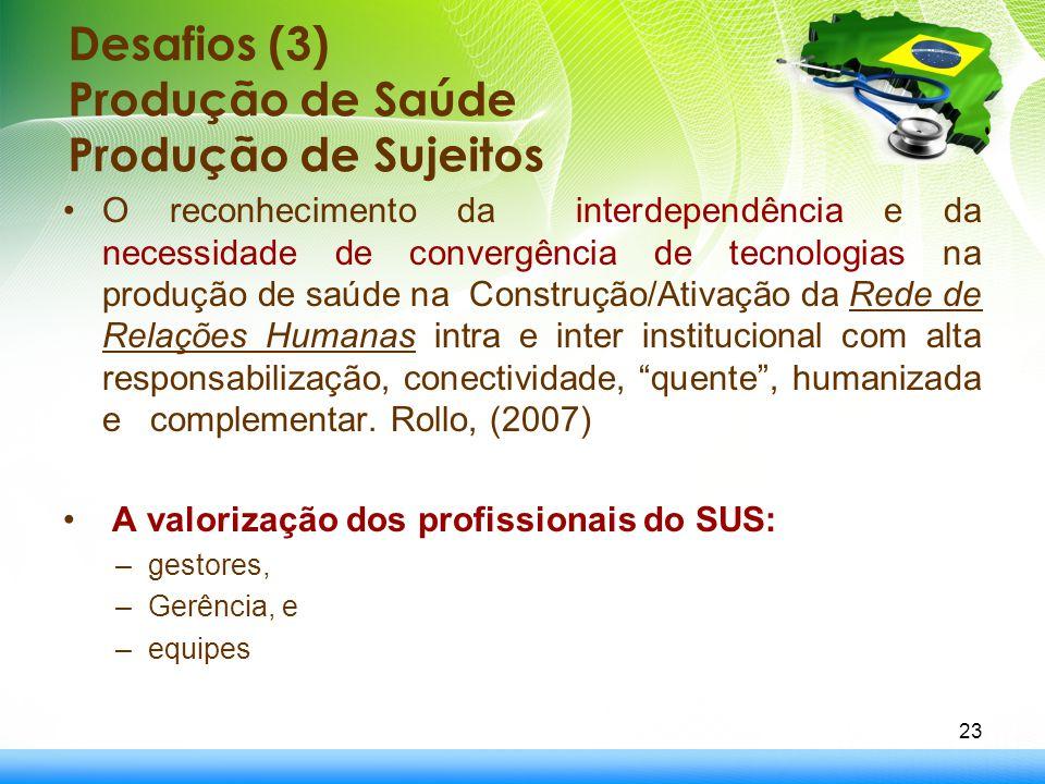 Desafios (3) Produção de Saúde Produção de Sujeitos O reconhecimento da interdependência e da necessidade de convergência de tecnologias na produção d