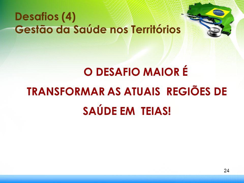Desafios (4) Gestão da Saúde nos Territórios O DESAFIO MAIOR É TRANSFORMAR AS ATUAIS REGIÕES DE SAÚDE EM TEIAS! 24