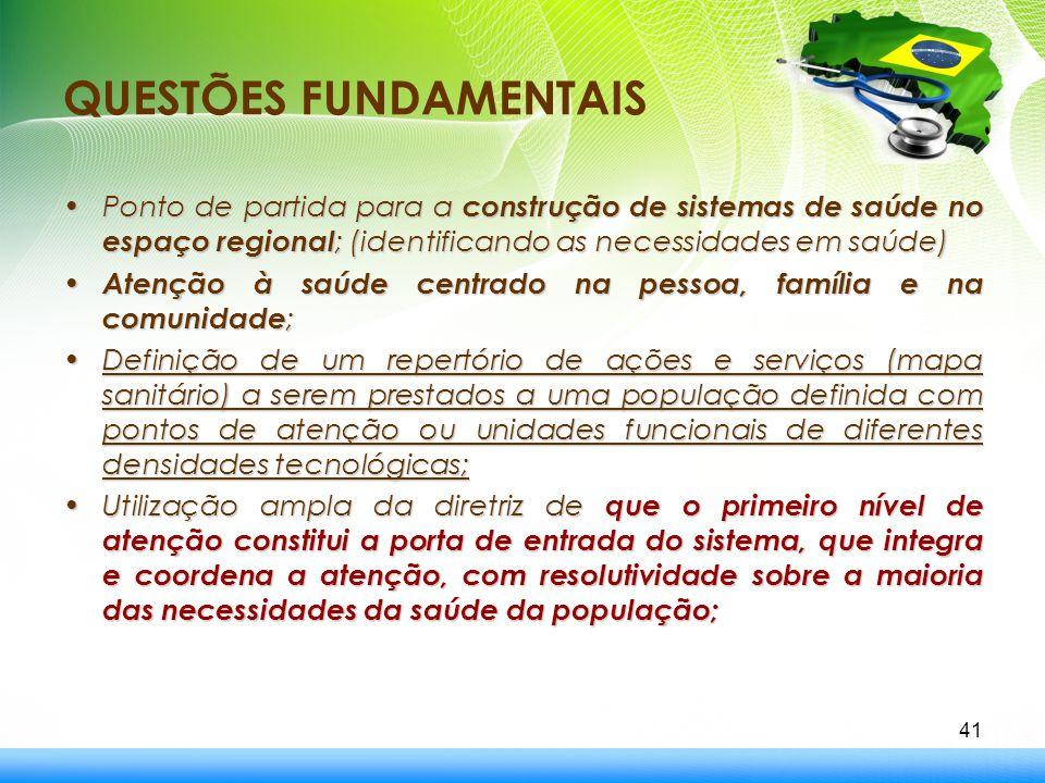 QUESTÕES FUNDAMENTAIS Ponto de partida para a construção de sistemas de saúde no espaço regional ; (identificando as necessidades em saúde)Ponto de pa