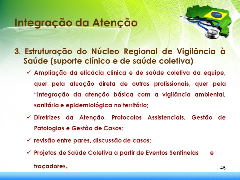 Integração da Atenção 3. Estruturação do Núcleo Regional de Vigilância à Saúde (suporte clínico e de saúde coletiva) Ampliação da eficácia clínica e d