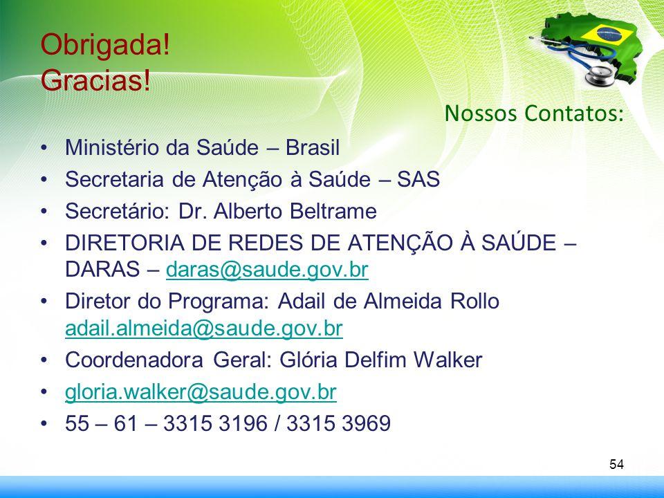 Obrigada! Gracias! Nossos Contatos: Ministério da Saúde – Brasil Secretaria de Atenção à Saúde – SAS Secretário: Dr. Alberto Beltrame DIRETORIA DE RED