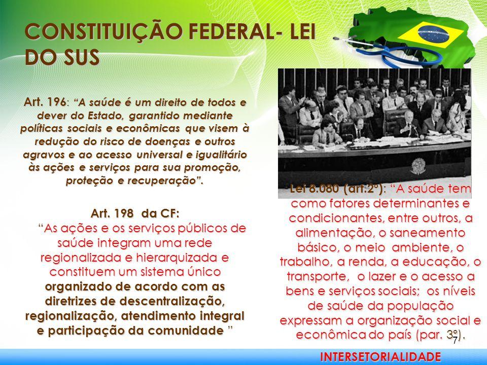 """7 CONSTITUIÇÃO FEDERAL- LEI DO SUS Art. 196 : """"A saúde é um direito de todos e dever do Estado, garantido mediante políticas sociais e econômicas que"""