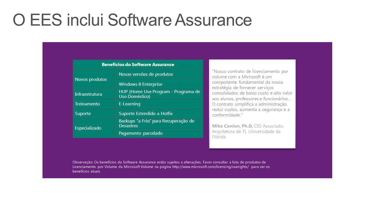 """""""Nosso contrato de licenciamento por volume com a Microsoft é um componente fundamental da nossa estratégia de fornecer serviços consolidados de baixo"""