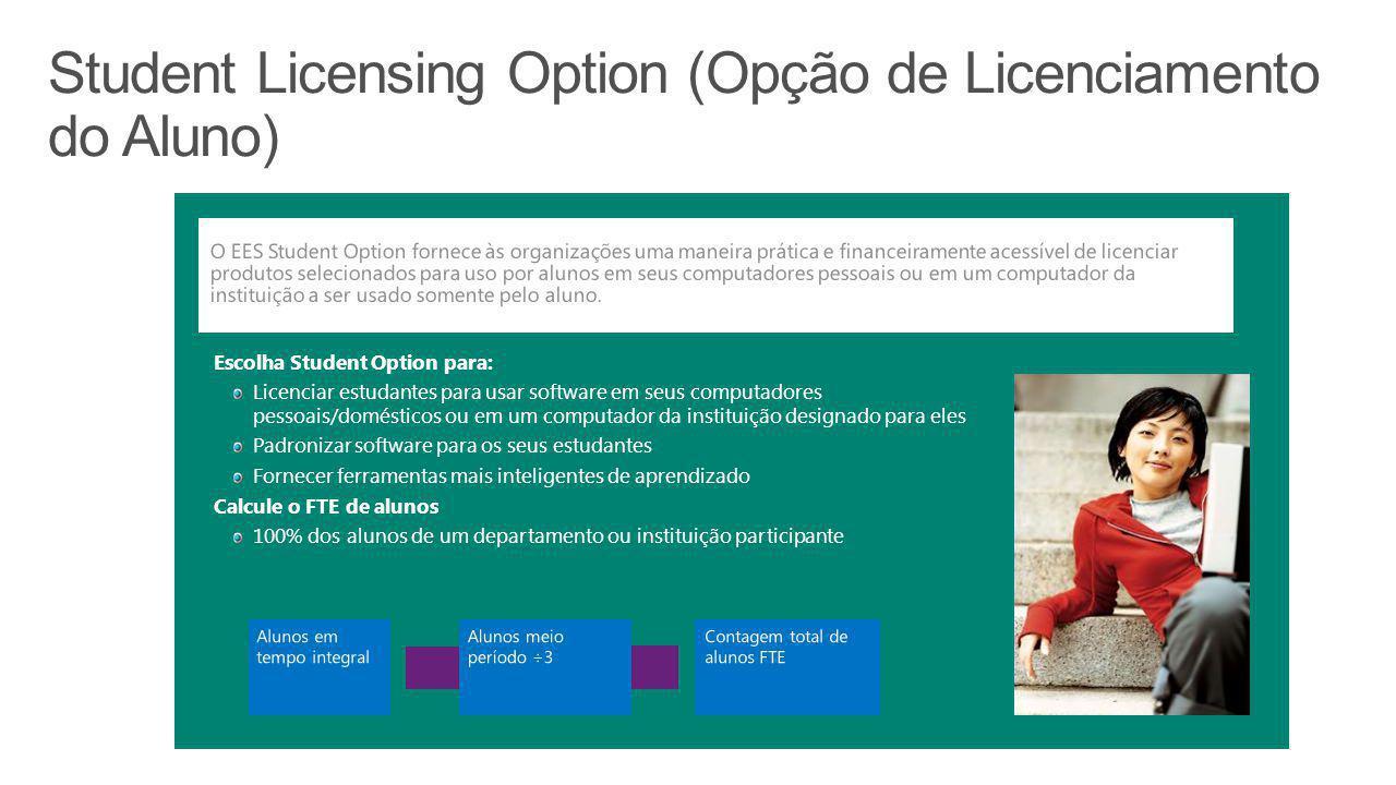 Escolha Student Option para: Licenciar estudantes para usar software em seus computadores pessoais/domésticos ou em um computador da instituição desig