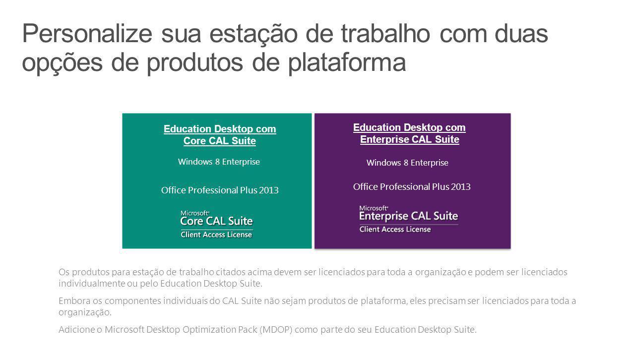 Education Desktop com Core CAL Suite Education Desktop com Enterprise CAL Suite  Os produtos para estação de trabalho citados acima devem ser licenci