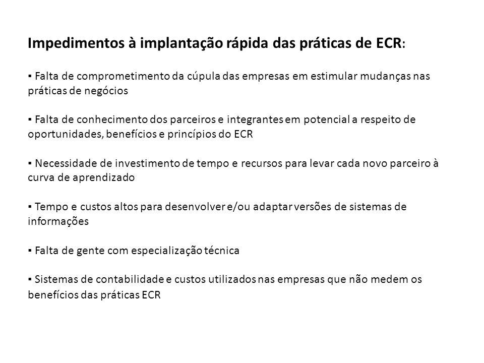 Impedimentos à implantação rápida das práticas de ECR : ▪ Falta de comprometimento da cúpula das empresas em estimular mudanças nas práticas de negóci