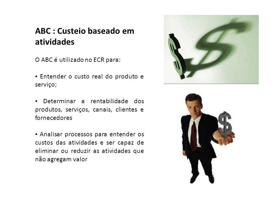 ABC : Custeio baseado em atividades O ABC é utilizado no ECR para: ▪ Entender o custo real do produto e serviço; ▪ Determinar a rentabilidade dos prod