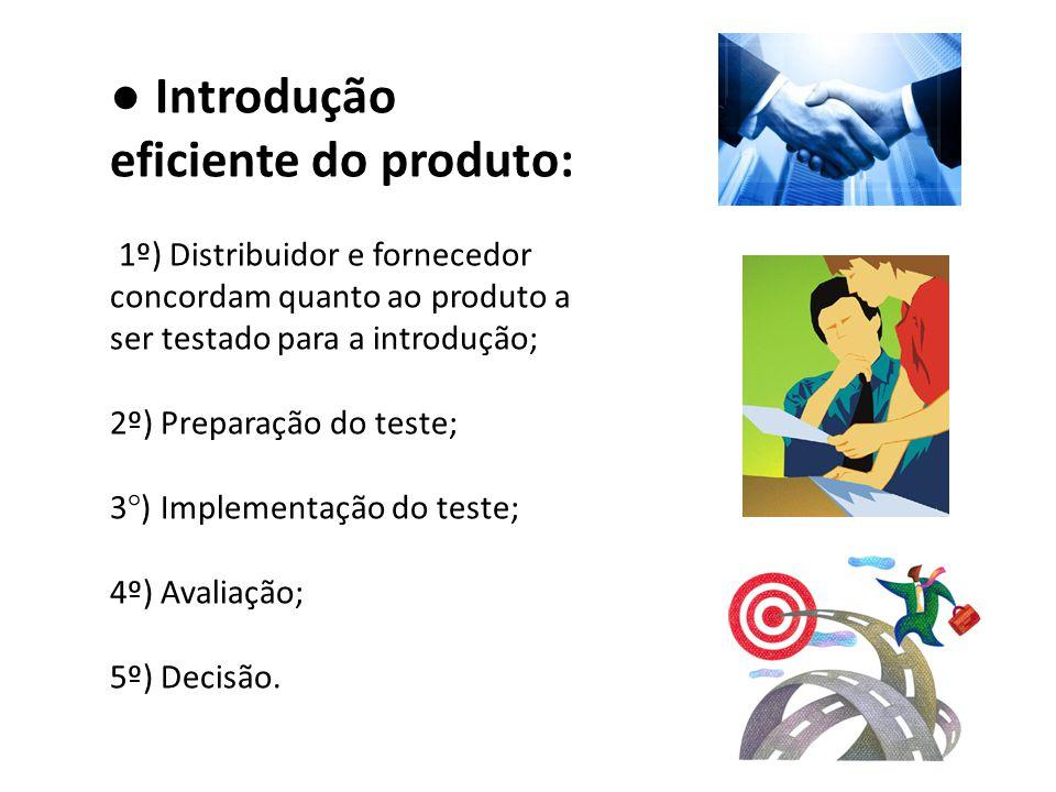 ● Introdução eficiente do produto: 1º) Distribuidor e fornecedor concordam quanto ao produto a ser testado para a introdução; 2º) Preparação do teste;