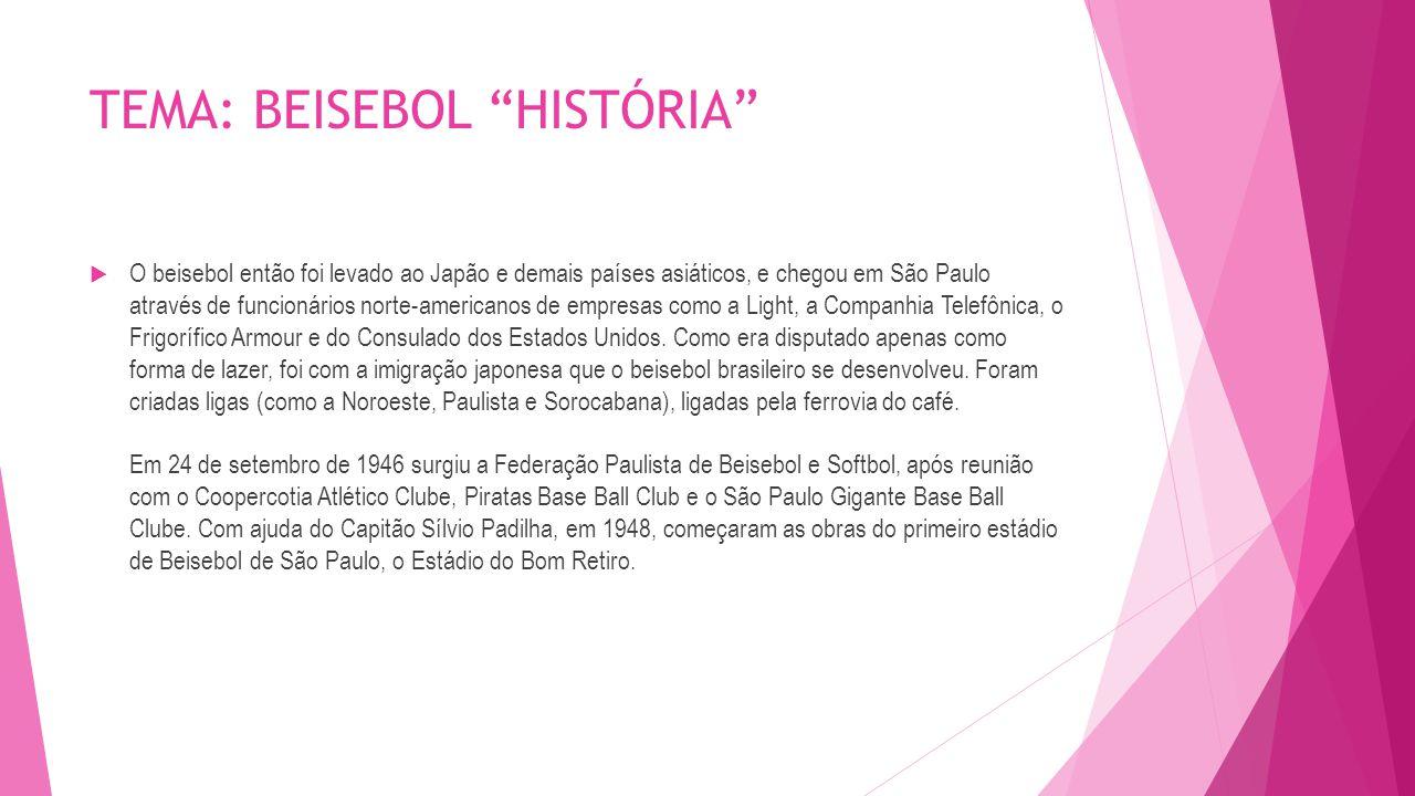 TEMA: BEISEBOL HISTÓRIA  No ano de 1951, realizaram-se os Primeiros Jogos Panamericanos, e o Brasil formou pela primeira vez a sua Seleção Nacional de Beisebol, exclusivamente de brasileiros natos.