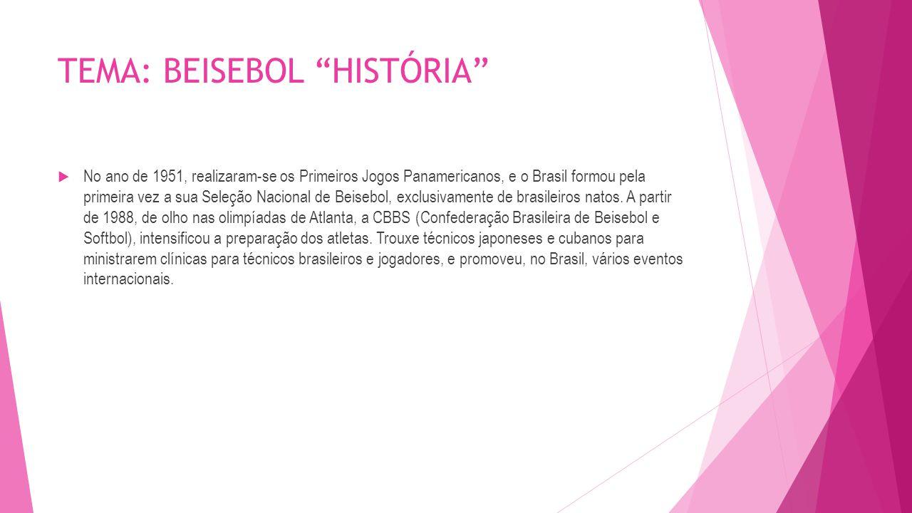 """TEMA: BEISEBOL """"HISTÓRIA""""  No ano de 1951, realizaram-se os Primeiros Jogos Panamericanos, e o Brasil formou pela primeira vez a sua Seleção Nacional"""