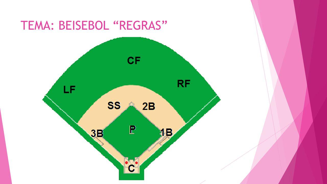  C = Catcher (responsável por recepcionar as bolas arremessadas pelo pitcher)  P = Pitcher (responsável por realizar os arremessos do time, em busca da eliminação adversária)  1B = First Baseman ou 1ª Base (responsável por defender o lado direito do infield e realizar eliminações na primeira base)  2B = Second Baseman ou 2ª Base (responsável por defender o lado centro-direito do infield e realizar eliminações na segunda base)  SS = Short Stop (responsável por defender o lado centro-esquerdo do infield e realizar eliminações na segunda base)  3B = Third Baseman ou 3ª Base (responsável por defender o lado esquerdo do infield e realizar eliminações na terceira base)  RF = Right Fielder (responsável por defender o lado direito do outfield)  CF = Center Fielder (responsável por defender a porção central do outfield)  LF = Left Fielder (responsável por defender o lado esquerdo do outfield)