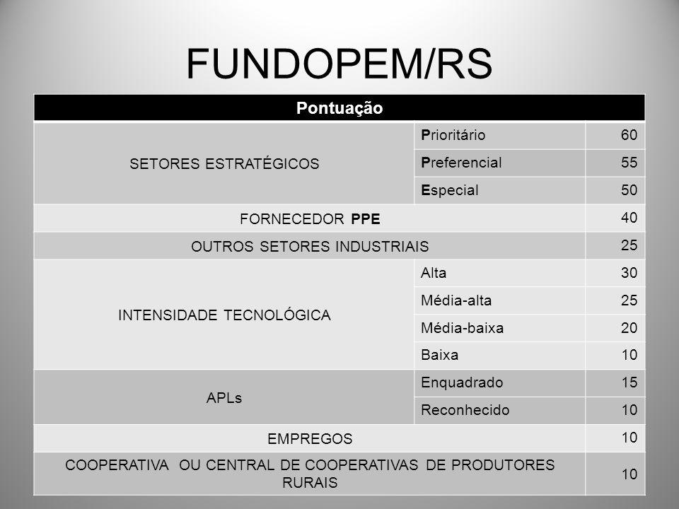 FUNDOPEM/RS Pontuação SETORES ESTRATÉGICOS Prioritário60 Preferencial55 Especial50 FORNECEDOR PPE 40 OUTROS SETORES INDUSTRIAIS 25 INTENSIDADE TECNOLÓ