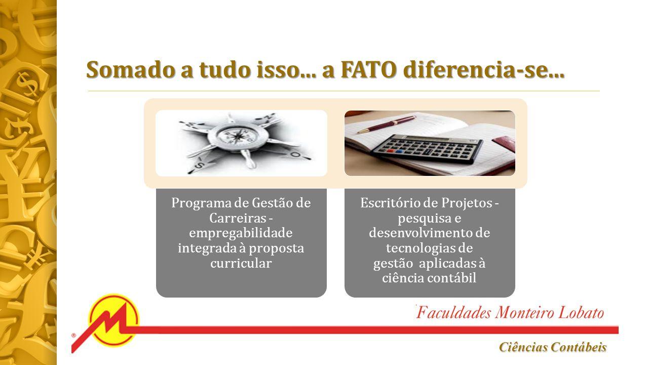 Ciências Contábeis Somado a tudo isso... a FATO diferencia-se... Programa de Gestão de Carreiras - empregabilidade integrada à proposta curricular Esc