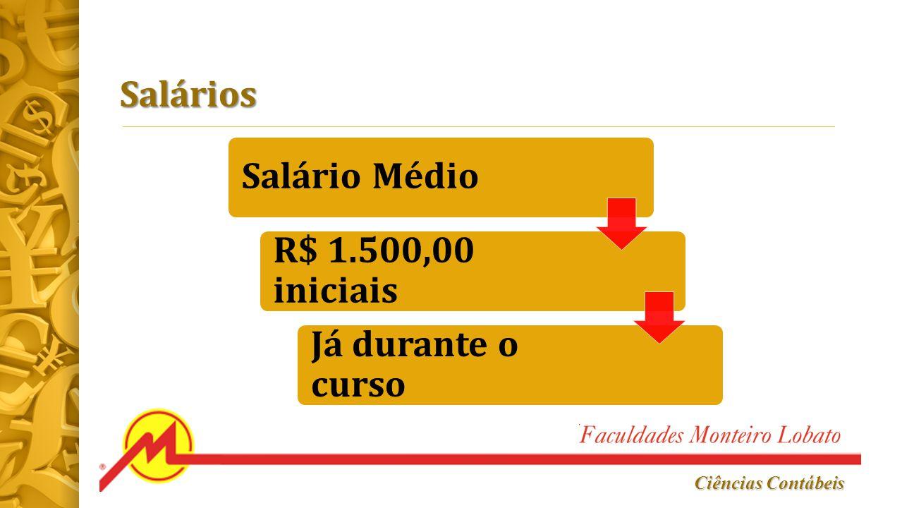Ciências Contábeis Salários Salário Médio R$ 1.500,00 iniciais Já durante o curso