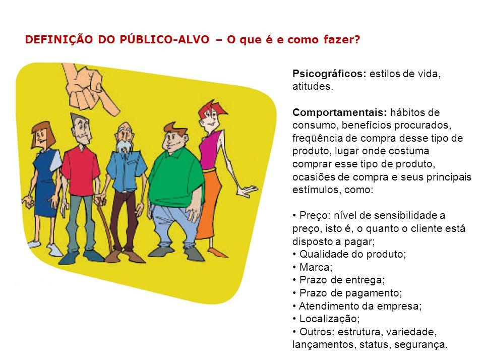 Psicográficos: estilos de vida, atitudes. Comportamentais: hábitos de consumo, benefícios procurados, freqüência de compra desse tipo de produto, luga