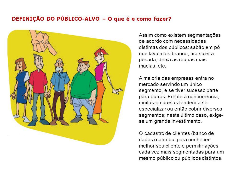 DEFINIÇÃO DO PÚBLICO-ALVO – Exemplo No caso de Ana Maria, após a análise de cenários, ela selecionou os idosos como sendo o seu público-alvo.