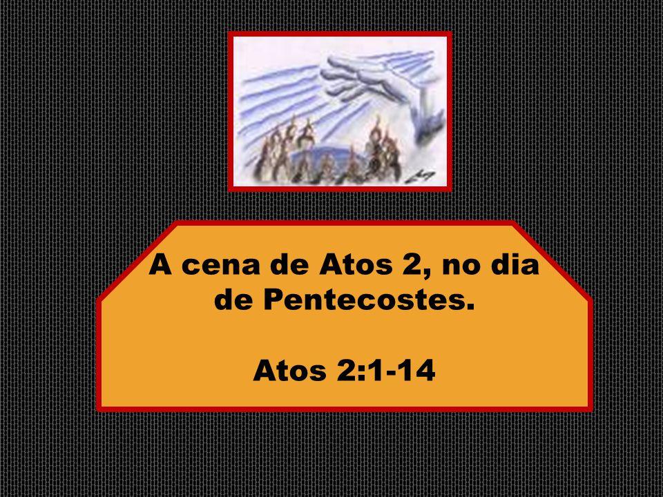 A cena de Atos 2, no dia de Pentecostes. Atos 2:1-14