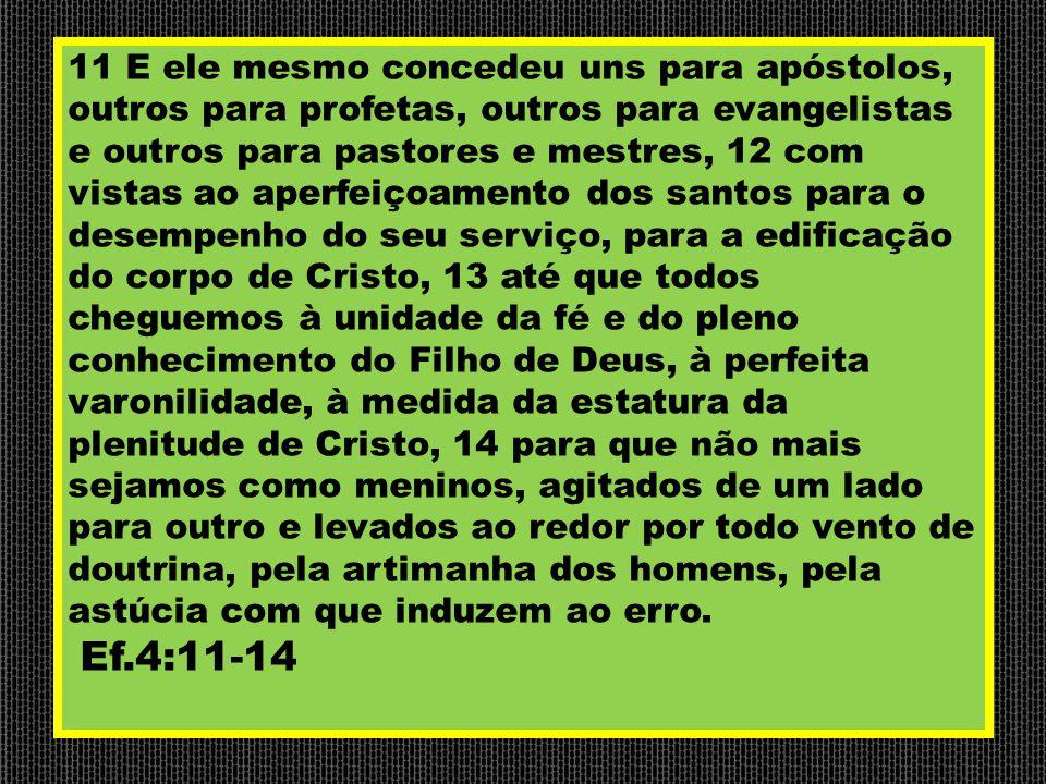 11 E ele mesmo concedeu uns para apóstolos, outros para profetas, outros para evangelistas e outros para pastores e mestres, 12 com vistas ao aperfeiç