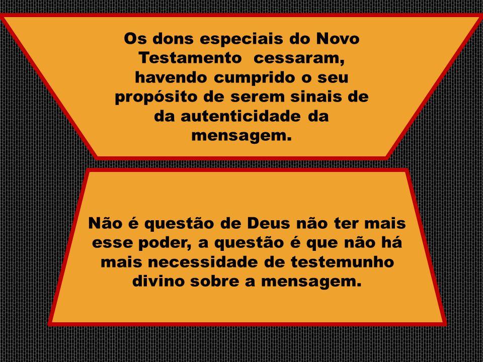 Não é questão de Deus não ter mais esse poder, a questão é que não há mais necessidade de testemunho divino sobre a mensagem. Os dons especiais do Nov