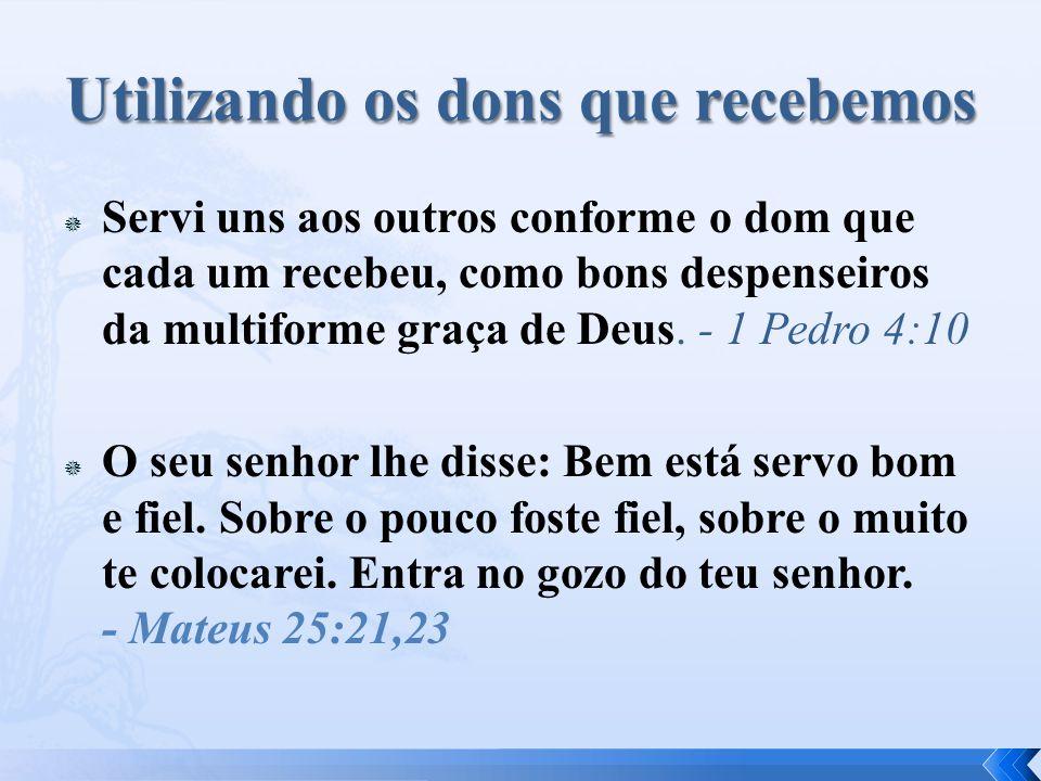  Servi uns aos outros conforme o dom que cada um recebeu, como bons despenseiros da multiforme graça de Deus.