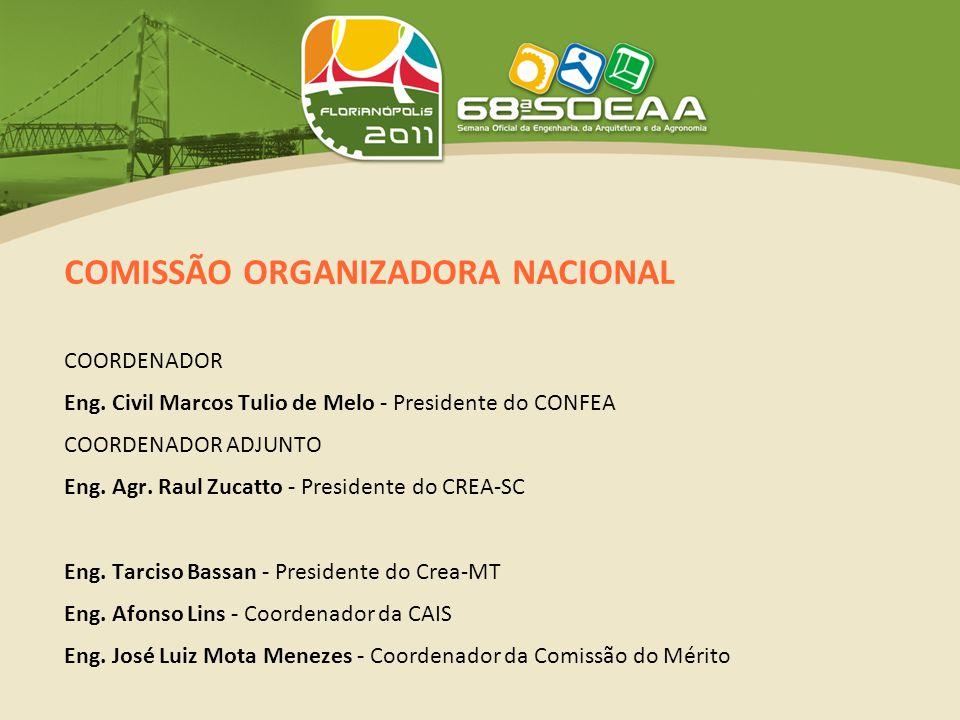 COMISSÃO ORGANIZADORA NACIONAL COORDENADOR Eng. Civil Marcos Tulio de Melo - Presidente do CONFEA COORDENADOR ADJUNTO Eng. Agr. Raul Zucatto - Preside