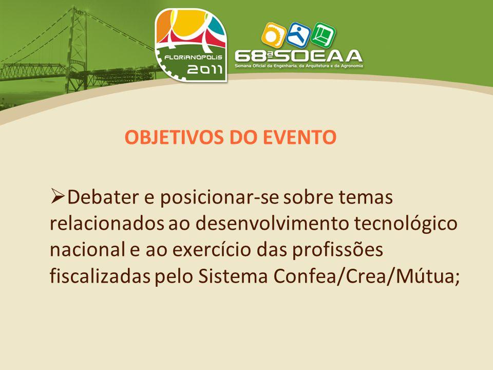 OBJETIVOS DO EVENTO  Debater e posicionar-se sobre temas relacionados ao desenvolvimento tecnológico nacional e ao exercício das profissões fiscalizadas pelo Sistema Confea/Crea/Mútua;