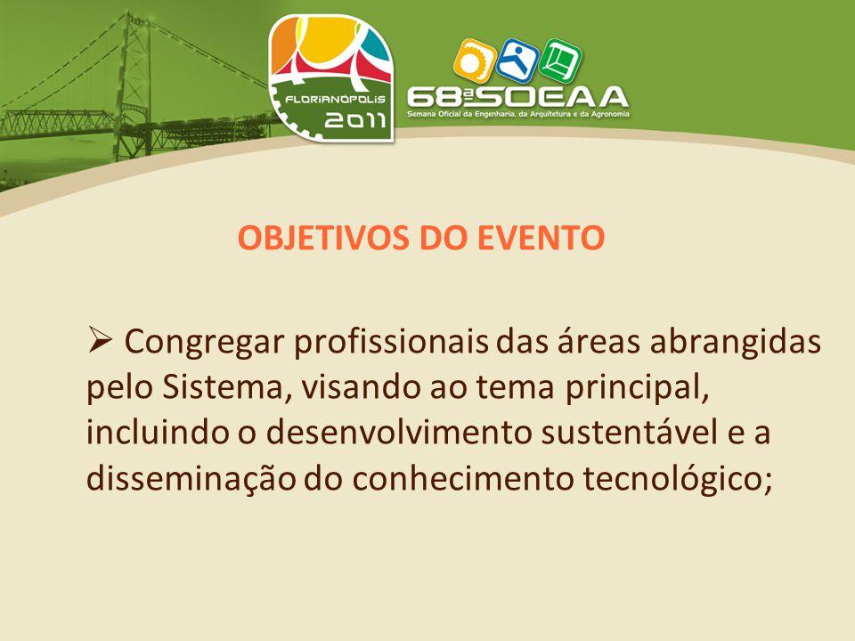 OBJETIVOS DO EVENTO  Congregar profissionais das áreas abrangidas pelo Sistema, visando ao tema principal, incluindo o desenvolvimento sustentável e a disseminação do conhecimento tecnológico;