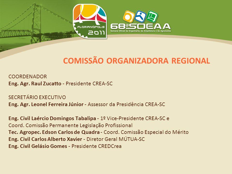 COMISSÃO ORGANIZADORA REGIONAL Eng.Agr. Germano Fuchs - 1º Tesoureiro e Coord.
