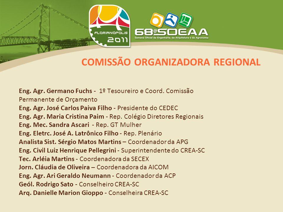 COMISSÃO ORGANIZADORA REGIONAL Eng. Agr. Germano Fuchs - 1º Tesoureiro e Coord.