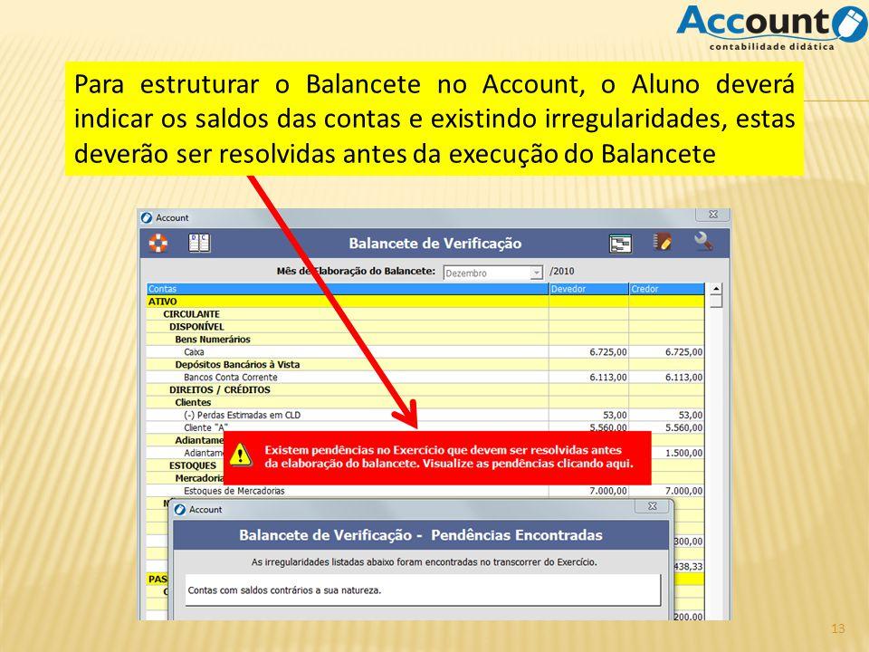 Para estruturar o Balancete no Account, o Aluno deverá indicar os saldos das contas e existindo irregularidades, estas deverão ser resolvidas antes da execução do Balancete 13