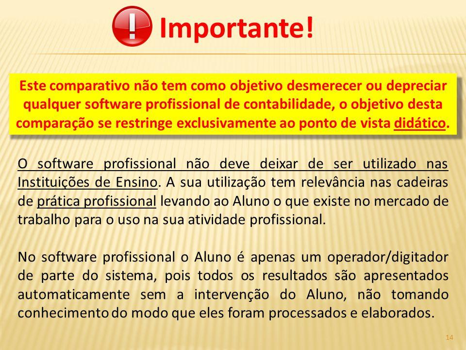 Importante! O software profissional não deve deixar de ser utilizado nas Instituições de Ensino. A sua utilização tem relevância nas cadeiras de práti