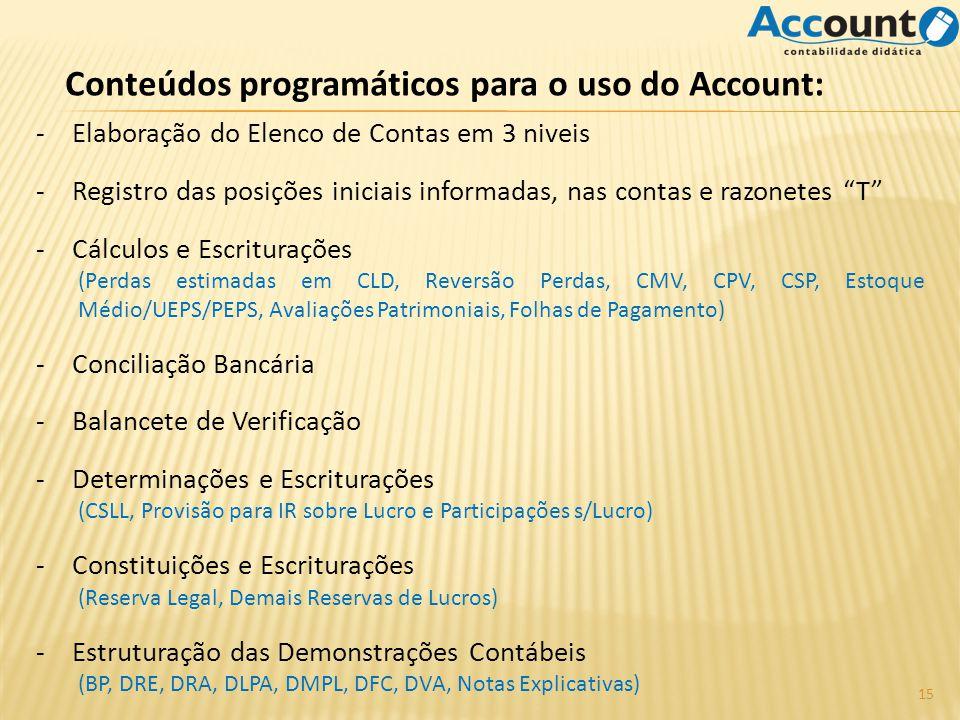 Conteúdos programáticos para o uso do Account: -Elaboração do Elenco de Contas em 3 niveis -Registro das posições iniciais informadas, nas contas e ra
