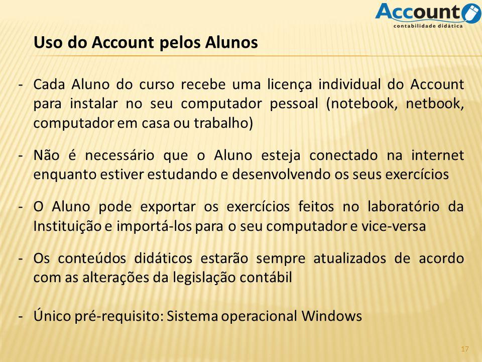 Uso do Account pelos Alunos -Cada Aluno do curso recebe uma licença individual do Account para instalar no seu computador pessoal (notebook, netbook,