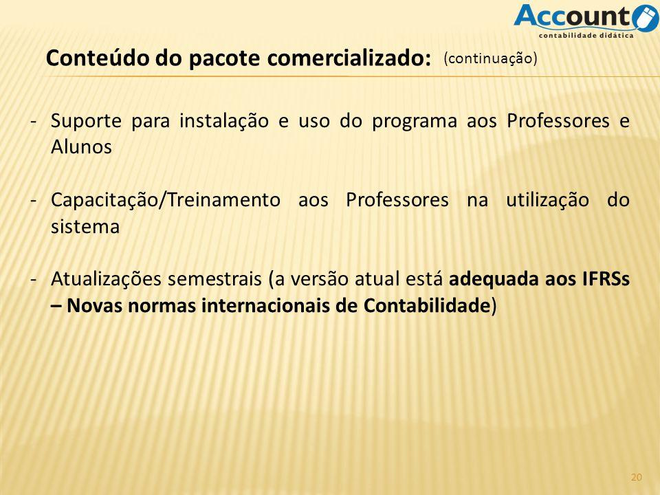 Conteúdo do pacote comercializado: -Suporte para instalação e uso do programa aos Professores e Alunos -Capacitação/Treinamento aos Professores na uti