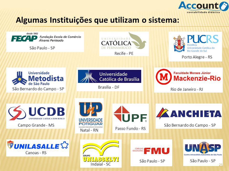 Algumas Instituições que utilizam o sistema: São Paulo - SP Recife - PE Porto Alegre - RS São Bernardo do Campo - SP Rio de Janeiro - RJ Brasília - DF
