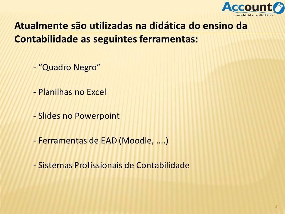 Atualmente são utilizadas na didática do ensino da Contabilidade as seguintes ferramentas: - Planilhas no Excel - Sistemas Profissionais de Contabilidade - Quadro Negro - Ferramentas de EAD (Moodle,....) - Slides no Powerpoint 3