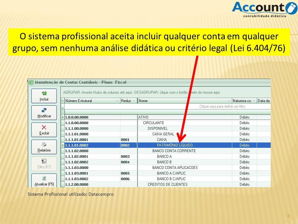 Sistema Profissional utilizado: Datacempro O sistema profissional aceita incluir qualquer conta em qualquer grupo, sem nenhuma análise didática ou critério legal (Lei 6.404/76) 9