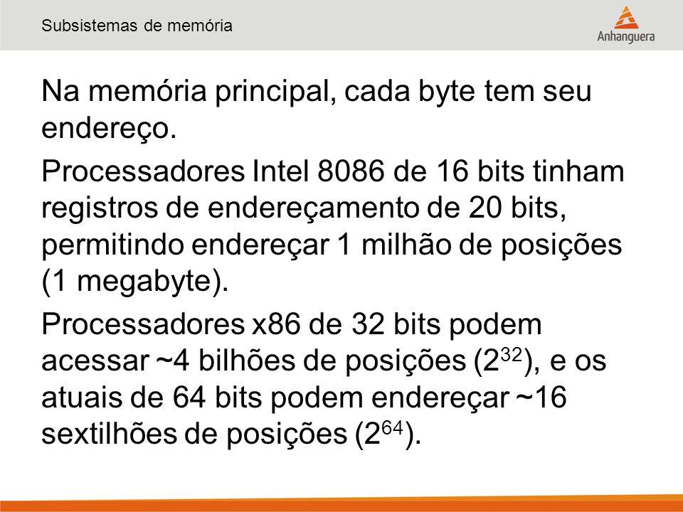Subsistemas de memória Na memória principal, cada byte tem seu endereço. Processadores Intel 8086 de 16 bits tinham registros de endereçamento de 20 b