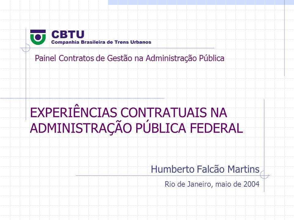 EXPERIÊNCIAS CONTRATUAIS NA ADMINISTRAÇÃO PÚBLICA FEDERAL Humberto Falcão Martins Rio de Janeiro, maio de 2004 Painel Contratos de Gestão na Administração Pública