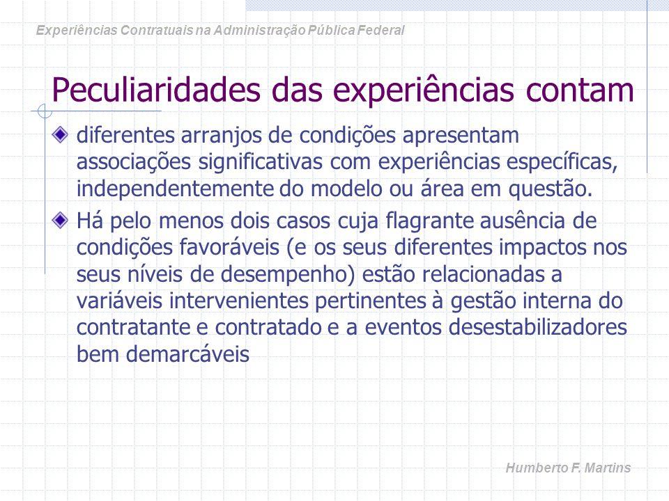 Peculiaridades das experiências contam diferentes arranjos de condições apresentam associações significativas com experiências específicas, independentemente do modelo ou área em questão.