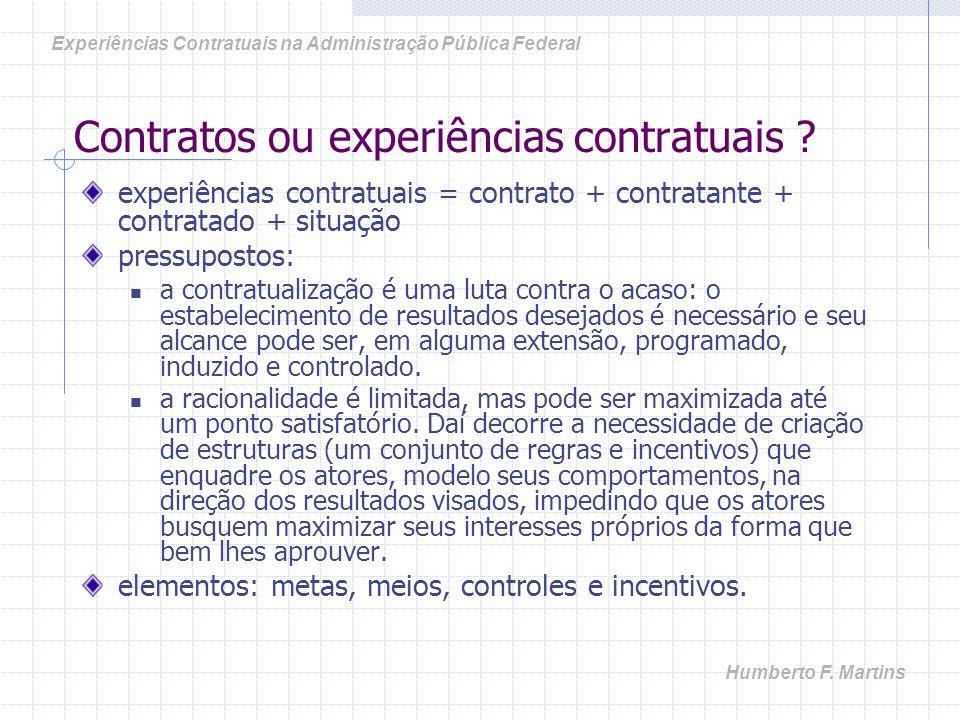 Contratos ou experiências contratuais .