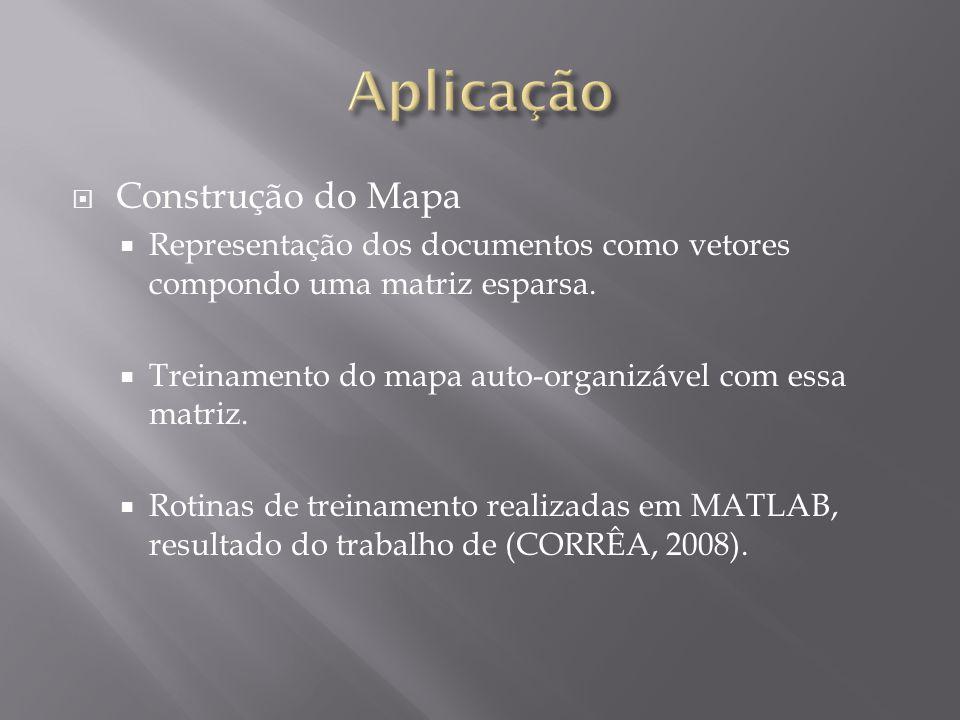  Construção do Mapa  Representação dos documentos como vetores compondo uma matriz esparsa.  Treinamento do mapa auto-organizável com essa matriz.