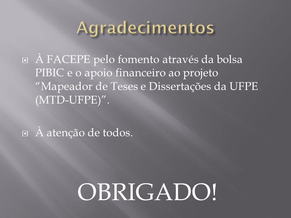 """ À FACEPE pelo fomento através da bolsa PIBIC e o apoio financeiro ao projeto """"Mapeador de Teses e Dissertações da UFPE (MTD-UFPE)"""".  À atenção de t"""