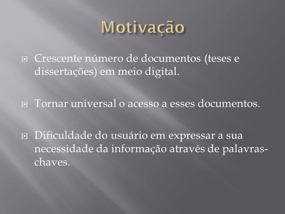  Crescente número de documentos (teses e dissertações) em meio digital.  Tornar universal o acesso a esses documentos.  Dificuldade do usuário em e