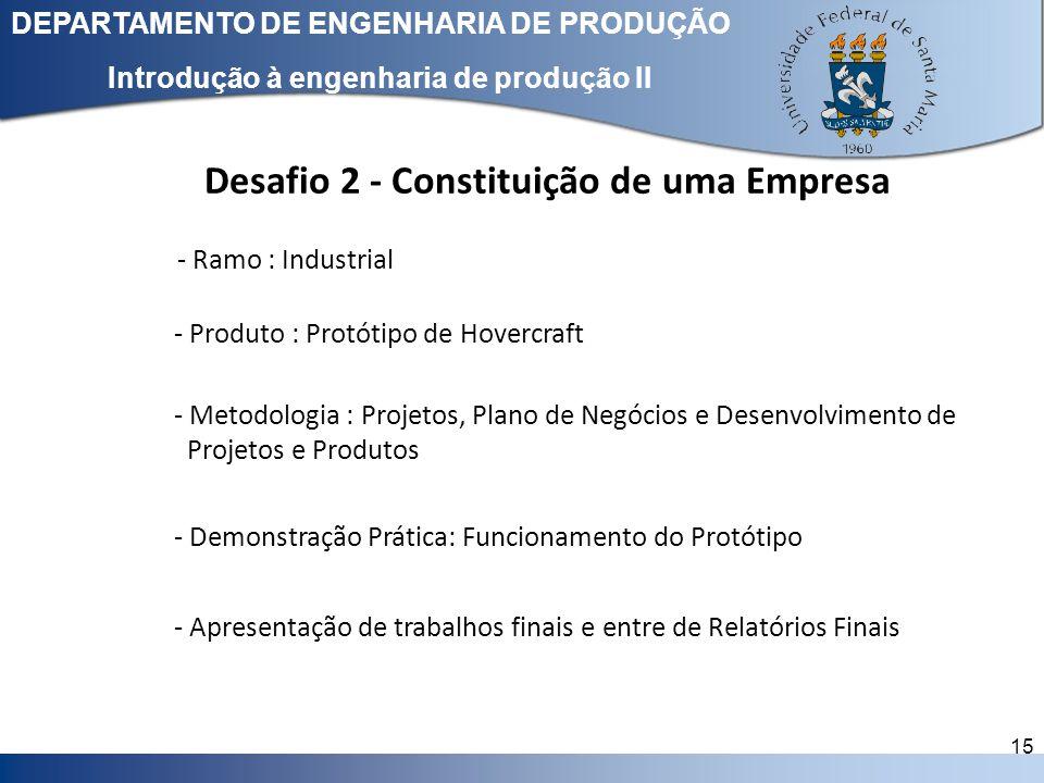 Clique para editar o estilo do título mestre DEPARTAMENTO DE ENGENHARIA DE PRODUÇÃO 15 Introdução à engenharia de produção II Desafio 2 - Constituição