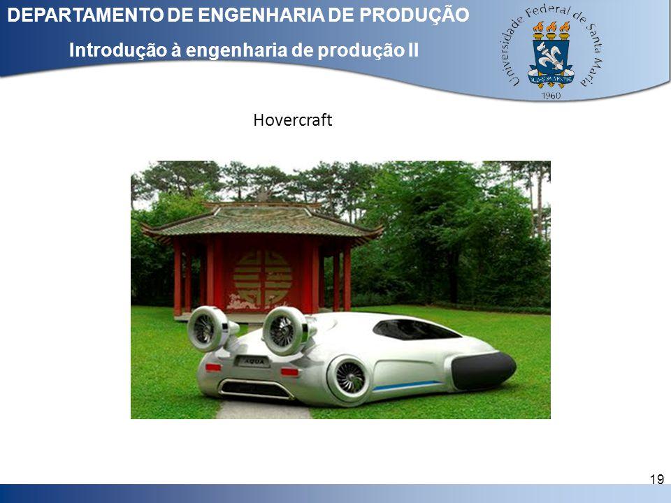 Clique para editar o estilo do título mestre DEPARTAMENTO DE ENGENHARIA DE PRODUÇÃO 19 Introdução à engenharia de produção II Hovercraft